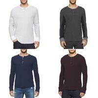 Calvin Klein Men Sweats Hoodies Henley Long Sleeve Knit Shirt Black