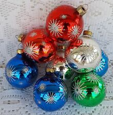 8 Vintage Rauch Glass Ball Christmas Tree Ornaments Red Blue Silver Green