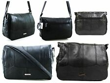 New Women Lorenz Real Leather Messenger Shoulder Across Body Bag Handbag Black