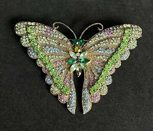 "Vintage Gold Tone Multi Color Rhinestone Butterfly Brooch 3"" K09"