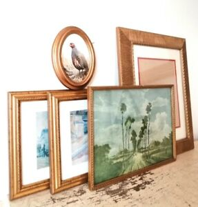 Collection Of 5 X Ornate Gilt Gold Vintage Picture Frames Rectangular + Oval