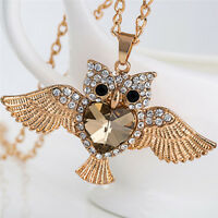 Women`Owl Rhinestone Crystal Pendant Necklace`Animal Long Sweater Chain Jewelry