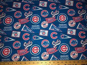 "NEW MLB CHICAGO CUBS COTTON Fabric FAT QTR1/4 yard=18""x29"" VTG PENNANTS DIY MASK"