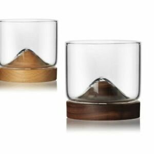 Whiskey Glasses Whisky Tumblers Modern Design Drinking Glass Wooden Stand 4oz
