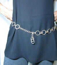 Vintage Mod Adjustable Silver  Metal Chain Belt w/ Faceted Circles Size Small