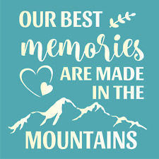 Joanie Cabin Stencil Best Memories In Rocky Mountains Heart Willow DIY Art Signs