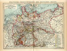 1904 GERMANY GERMAN REICH POLITICAL MAPPOLAND RUSSIA CHZECH BOHEMIA Map dated