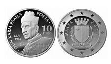 MALTA 10 euro plata 2013 proof POETA DUN KARM PSAILA