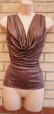 COAST BROWN GOLD GLITTER COWL NECK FIT PARTY SPARKLY XMAS BLOUSE TOP SHIRT XS