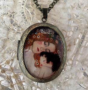 Mother and Child ~ Klimt ~ Vintage Picture Locket Necklace ~ Art Nouveau