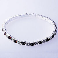 Womens Stretch Tennis Silver Stackable Red Ruby Clear Rhinestone Bracelet