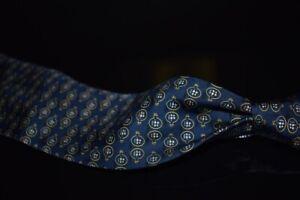Salvatore Ferragamo Made in Italy Navy Foulard Twill Ship in a Bottle Silk Tie