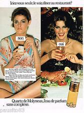 PUBLICITE ADVERTISING 055  1978  MOLYNEUX  parfum femme QUARTZ            230515
