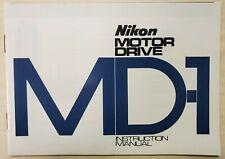Original Nikon Md-1 Motor Driv Instruction manual