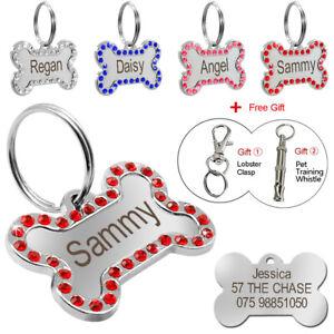 Bling Rhinestone Personalised Dog ID Tags Custom Pet Name Collar Discs Engraved