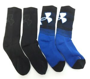 Under Armour Youth Phenom 2.0 Crew Socks Blue Assort 2 Pack - Size 13.5K - 4Y