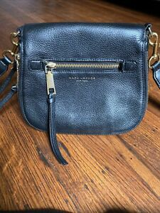 Marc Jacobs Recruit Nomad Black Pebbled Leather Crossbody Bag Medium
