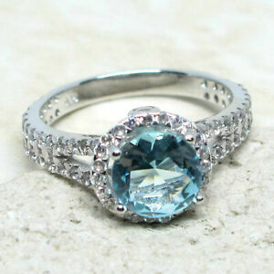 UNIQUE 2 CT ROUND AQUAMARINE BLUE 925 STERLING SILVER RING SIZE 5-10