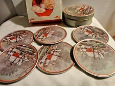 6 Currier & Ives Winter Holiday Scene Christmas Tin Coasters in Matching Tin Box