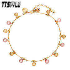 Ttstyle 18K Color Gold Filled Chain Mixed Pearl Anklet Jingle Bell New
