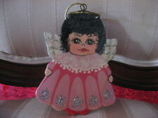 Adorable All Wood Hand paint Angel In Pink Dress Christmas Tree Ornament