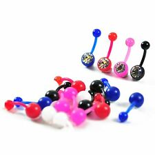 Wholesale Pack 100pcs Body Piercing Flexible Polisafe Navel Belly Ring w/ Stone