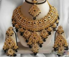 INDIAN JEWELLERY SET BOLLYWOOD GOLD PLATED KUNDAN JEWELLERY PURPLE GOLD NEW