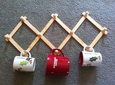 LOT OF 2 EXPANDABLE WOOD RACKS NEW -  HATS CUPS MUGS PEGS HOLDER WALL CRAFTS