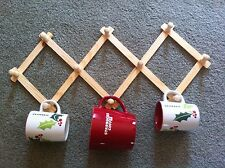 EXPANDABLE WOOD RACK NEW -  HATS CUPS MUGS PEGS HOLDER WALL