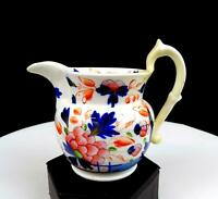 "T RATHBONE STAFFORDSHIRE CHINA BLUE PINK FLORAL 4 1/4"" CREAMER 1800'S"