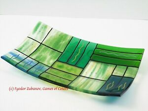 """Games of Colors: A decorative fused glass plate """"A Gentle color mix""""-Greens"""