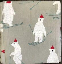 New Flannel Sheet Set Full Size Polar Bear Skiing