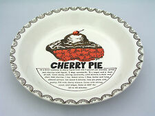 """CHERRY PIE PLATE W/ RECIPE - 10 1/4"""" - EXCELLENT CONDITION - SIGNED BY DEE"""