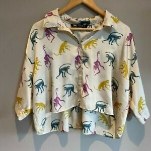 BNWT Zara Small satin feel cropped monkey blouse shirt oversized