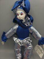 "Sugar Loaf Mardi Gras Jester Doll Classic Harlequin Clown 17"" Blue Silver w Tag"