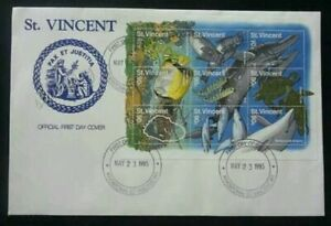 [SJ] St. Vincent Marine Life 1995 Turtle Whale Dolphin Coral Fish Ocean (FDC)