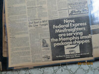 Aviation Memphis Newspaper 1973 FEDERAL EXPRESS MINIFREIGHTER AD NOW FEDEX