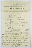 1905 Victorian Paper Receipt Boston Mass M J Conant & Co Butter Eggs Meat Beans