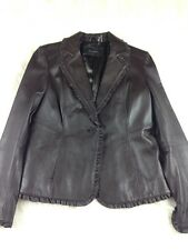 Tahari Womens Leather Jacket Lined Ruffle Trim One Button Brown Size Medium