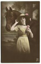 Pretty Edwardian girl with HORSE  and hat flowers photo postcard