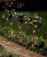 Set of 3 Palm Tree Stake Lights Tropical Outdoor Path Lighting Yard Garden Decor