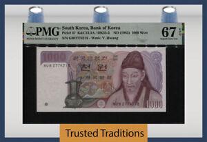 TT PK 47 ND (1983) SOUTH KOREA BANK OF KOREA 1000 WON PMG 67 EPQ SUPERB GEM UNC!