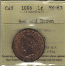 1896 Canada Large Cent Coin. ICCS MS-63
