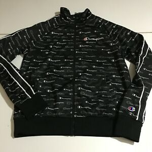 Champion Womens Small Black Athletic Track Jacket Allover Print Zip Up