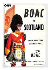 BOAC Flight Label SCOTLAND Unused GB USA CANADA AVIATION {samwells-covers}CE34