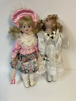 Lot of 2 Collectible Porcelain Dolls Vintage Pink Dress And White Bride Dress