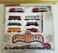 Bachmann Long Hauler N Gauge Scale Model Train Set Twin Locomotives 6 Cars 24406