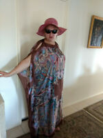 NEW BROWN Handmade SILK Kaftan Plus Size Maxi Beach Caftan Resort Wear