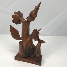 Hand Carved Wood Bird On Burl Wood Tree Flowers Leaves