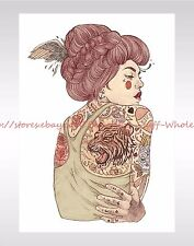 """US SELLER-fake tattos Tiger on Back Sexy Women large 8.25"""" temporary arm tattoo"""